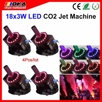 4 Adet/grup dmx RGB led jet co2 makinesi sis co2 jet makinesi sahne etkisi ile led co2 sprey duman