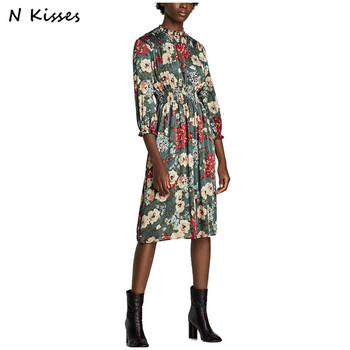 Nkisses Autumn Women Casual Floral Printed Dress Female There Quarter Sleeve Elestic O Neck Dress Vestidos